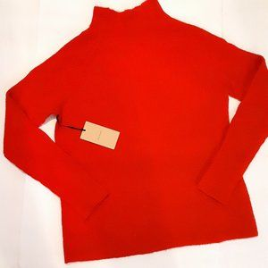 New HALOGEN Sweater Ribbed Knit Red Mock Neck